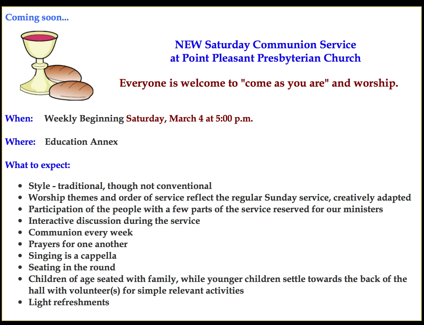 Saturday Communion Service